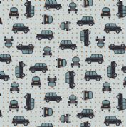 Lewis & Irene - City Nights - 6027 - Black Taxis on Grey (Metallic) - A292.2 - Cotton Fabric